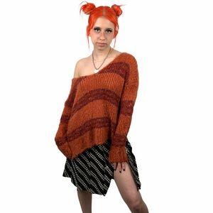 Free People Fuzzy Orange/Purple Striped Sw…